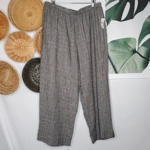 Hot Cotton Houndstooth Crop Wide Leg Pants NEW XL